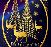 Gold Christmas Trees and Reindeer Oval by Lotacats