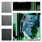 Jade Abstract Mixed Media City Landscape by VibrantDesigns