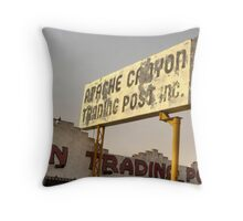 Vintage Apache Trading Post Sign Throw Pillow