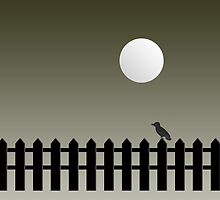 Bird On Fence [White Moon] by V-Art
