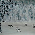 Deer in a snowy glade by George Hunter