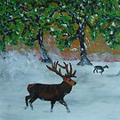 Stag in a snowy Orchard by George Hunter