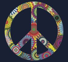 Cool Retro Flowers Peace Sign - T-Shirt and Stickers by Denis Marsili