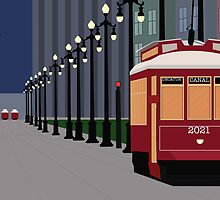 New Orleans Streetcars at Night by brianamariej