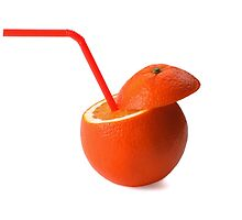 fresh ripe orange cutted on top with straw on white background by keko64
