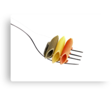 italian penne pasta on a fork ,on white background Canvas Print
