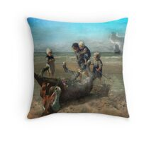 The Discovery of a Pointillist Horse Throw Pillow