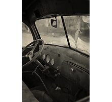 Inside an old junker car Photographic Print