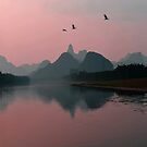 The Foggy Li River After Sunset, Yangshuo, China. by Ralph de Zilva