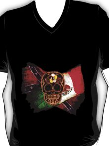 Day of the Dead Skull with Rebel & Mexican Flags T-Shirt