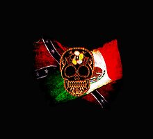 Day of the Dead Skull with Rebel & Mexican Flags by Val  Brackenridge