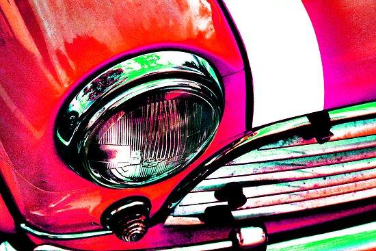 Red Retro Mini Cooper by pearloil
