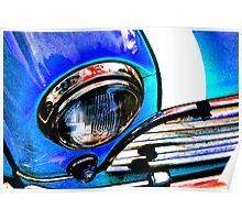 Blue Retro Mini Cooper Poster