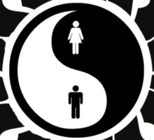 Yin Yang Man Woman Tribal Art Prints T Shirt and Stickers Sticker