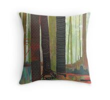 Embroidered Forest, mixed media and zentangles Throw Pillow