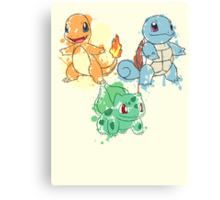 Starter Pokemon Splatter Canvas Print