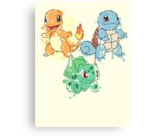 Starter Pokemon Splatter Canvas Print