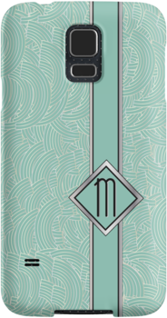 1920s Blue Deco Swing with Monogram letter M by CecelyBloom
