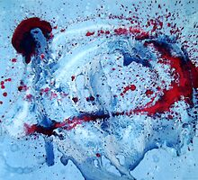 Spitfire abstract painting red, white & blue by VibrantDesigns
