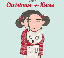 CHRISTMAS KISSES, CUTE CAT AND GIRL by Jane Newland