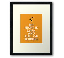 House Baratheon The Night Is Dark And Full Of Terrors Framed Print