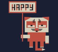 grumpy fox holding HAPPY sign by kislev