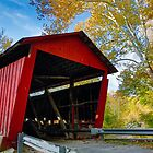 Red Covered Bridge and Giant Sycamore by Kenneth Keifer