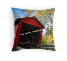 Red Covered Bridge and Giant Sycamore Throw Pillow