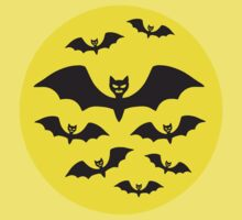 Halloween Bat Moon A Flock of Bats by retromoomin