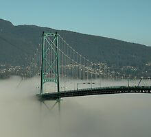 Fog Engulfing the Lion's Gate Bridge by Brian Chase