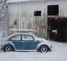 VW in snow by barn by BUGNUTZZ