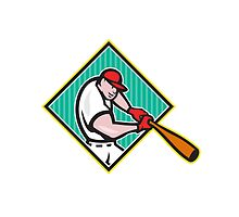 Baseball Player Batting Diamond Cartoon by patrimonio