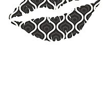 Black Retro Waves Lips by kwg2200