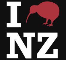I Love New Zealand (Kiwi) white design by jezkemp
