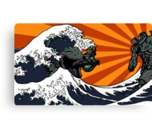 Kaiju Vs Jaeger (Japanese Wave) Canvas Print