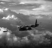 Vickers Wellingtons with 16 OTU black and white version by Gary Eason + Flight Artworks