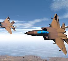 F15s  on Combat  Air Patrol by Sazzart