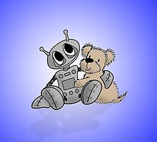 Robot's Best Friend - Blue Background by SootyB