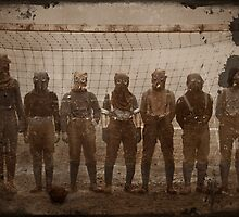 Soldiers Play Soccer in Gas Masks by dianegaddis