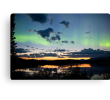 Midnight summer Northern lights Aurora borealis Canvas Print
