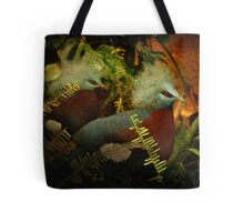 Two Victoria Crowned Pigeons in mystery forest Tote Bag