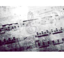 Music! Treble clef with Grunge Vintage Texture - DJ Retro Music Art Prints - iPhone and iPad Cases Photographic Print