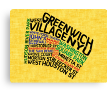 Typographic Greenwich Village Map, NYC Canvas Print