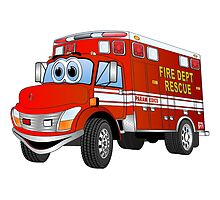 Fire Rescue Truck Cartoon by Graphxpro