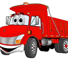 Red Cartoon Dump Truck by Graphxpro