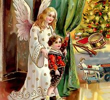 Vintage Greeting--Christmas Morning, Angel, Tree, Child, Toys by Tastefullytacky