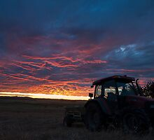 Fertilizer spreading at Sunset by Steven Gray