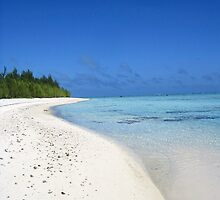 Deserted beach - Aitutaki by Nicola Barnard