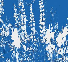 Silhoutte of Flowers in Blue and White by HomeTimeArt