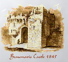 A digital painting of Beaumaris Castle, Anglesey 1845 by Dennis Melling